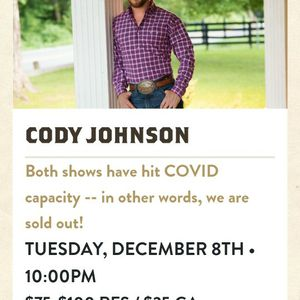 Cody JOHNSON Live at Billy Bobs 10/8/20 for Sale in Riverside, CA