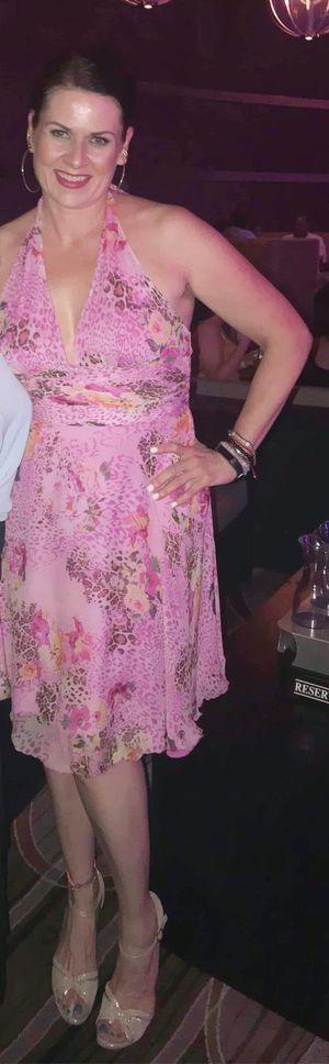 100% Silk Halter dress size 14 large pink floral leopard for Sale in Las Vegas, NV