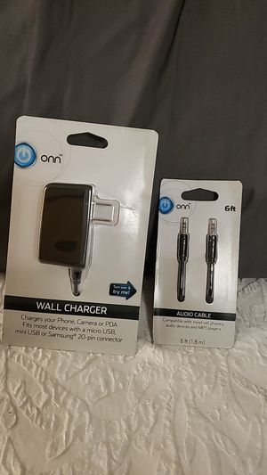 On wall charger, audio cable for Sale in La Puente, CA