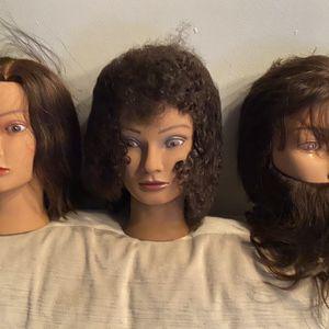 100% Real Human Hair Hairdresser Mannequin Head 3/set for Sale in Detroit, MI