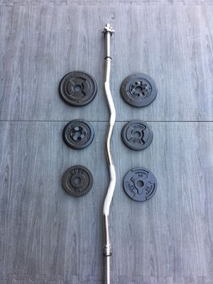 Weights CurlBar 30lbs 6x5s for Sale in Riverside, CA