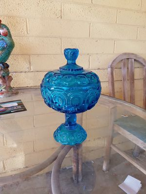 Antique blue 4 mold line pressed glass lidded candy dish for Sale in Phoenix, AZ