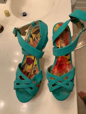 Cupid Turquoise Strappy Heels size 8.5 for Sale in Scottdale, GA