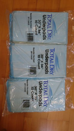 Total dry underpads 30x36. 30 count for Sale in Arcadia, CA