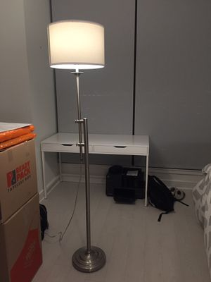 White and silver floor lamp for Sale in Cleveland, OH