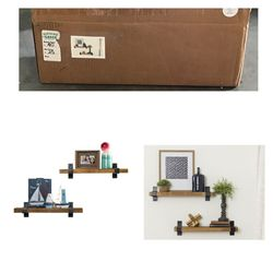 Del Hutson Industrial Grace Floating Wall Shelves - Set of 2 for Sale in Sugar Land,  TX