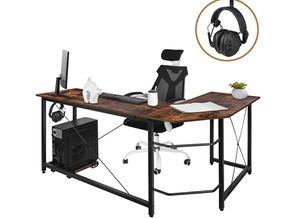 "Modern L-Shaped Home Office Desk 66 inch Sturdy Computer PC Laptop Table Corner Desk Workstation Larger Gaming Desk Easy to Assemble 66.5"" x 47.5"" x for Sale in Rosemead, CA"