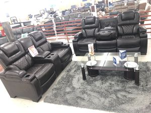 Brand new brown leather power reclining sofa and loveseat with USB charging plugs for Sale in Dallas, TX