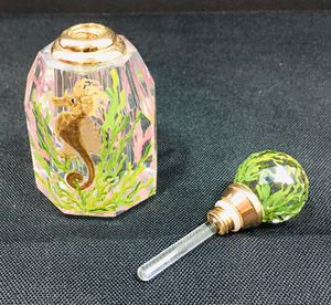 """Signed Oleg Cassini Crystal Hand Painted Perfume Bottle / Ocean Theme / Screw Top / Excellent Condition 3"""" x 1.5"""" for Sale in Oakland Park, FL"""