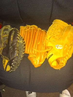 3-baseball gloves & 3-raquets for Sale in Franklin, NJ