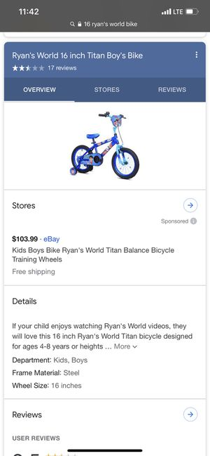 """16"""" ryans world bike these are out of stock!!! Only have 1 for Sale in Brooklyn Park, MD"""
