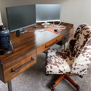 desk and cow print chair for Sale in Beaverton, OR