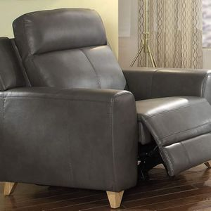 MID CENTURY MODERN GRAY LEATHER AIRE MATCH ARM POWER RECLINER CHAIR - SILLA RECLINABLE PIEL MUEBLES for Sale in Pico Rivera, CA
