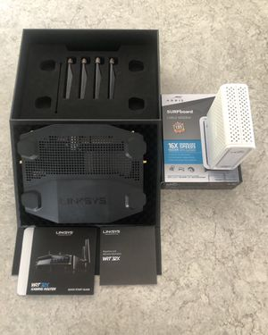 Linksys WRT32X AC3200 Dual-Band WiFi Gaming Router with Killer Prioritization Engine **PLUS FREE SURFBOARD CABLE MODEM** for Sale in Escondido, CA