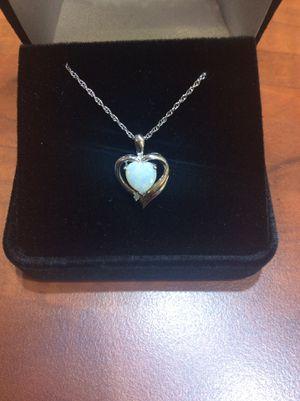 Heart opal & diamond pendant for Sale in Annandale, VA