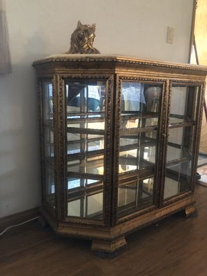 Mid century modern Italian Mongelli marble top curios cabinet Hollywood regency style for Sale in Bell Gardens, CA