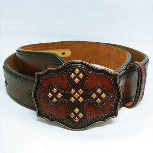 Justin Boots Mens Leather Brown Belt 34 Celtic Cross Studded Large Buckle for Sale in Pembroke Pines, FL