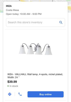 "Brand new in box IKEA -Vallhall wall lamp, Nicole plated 24"". for Sale in Whittier, CA"