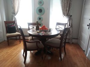 6 chairs dining table 5 chairs extended piece for table for Sale in Andover, MA