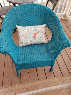 Teal Wicker Chair for Sale in Frederick, MD