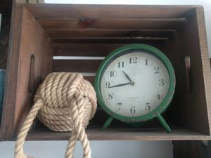 Antique green metal clock for Sale in Chicago, IL