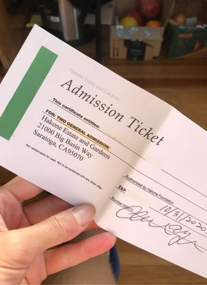 2 general admission tickets Hakone Estate and Gardens for Sale in Menlo Park, CA
