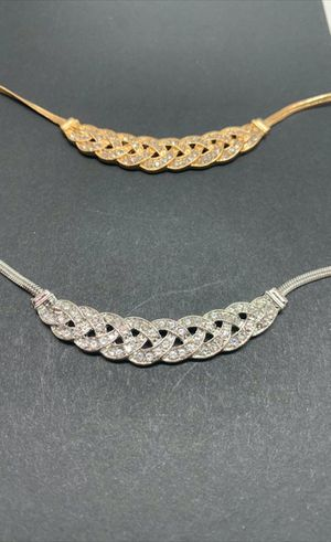 2 Sets Romantic Choker Chain Necklace Accessory, Gold and Silver Color for Sale in Los Angeles, CA