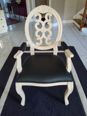 Chair with Wood & Black Leather for Sale in Virginia Beach, VA