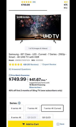 """🔼🔼SMART TV SAMSUNG 65"""" LED 4K CURVED WITH HDR """" NU7300 SERIES"""" FULL UHD 2160p🔼🔼 (OBO)🔼🔼 for Sale in Phoenix, AZ"""