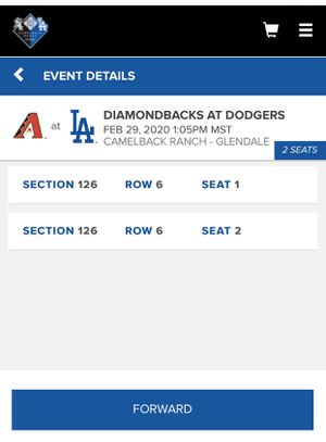 Dodgers spring training game Saturday 2/29 for Sale in Glendale, AZ