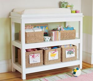 White Pottery Barn Kendall Classic changing table with pad and two covers for Sale in Chestertown, MD