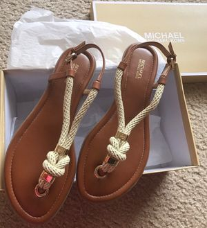 MICHAEL KORS BRAND NEW Leather Sandal T-Strap Natural-Brand NEW w/ Box-Size: 8 for Sale in Houston, TX