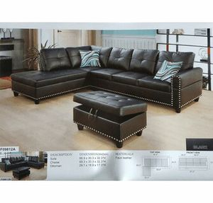 Faux leather Sectional with ottoman ( New ) for Sale in Chico, CA