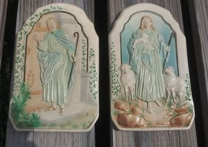 """Vintage Chalkware Jesus Wall Plaques 9"""" x 5.5"""" Each by Christian Workers of Caledonia, Ohio for Sale in Orlando, FL"""