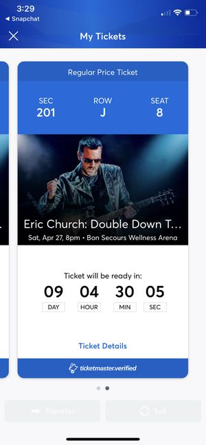 Eric Church Concert Greenville, SC for Sale in Charlotte, NC