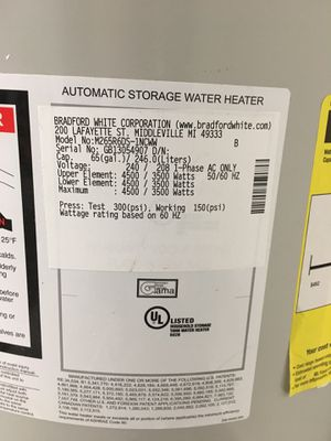 65 Gals Bradford White Water Heater for Sale in Boca Raton, FL
