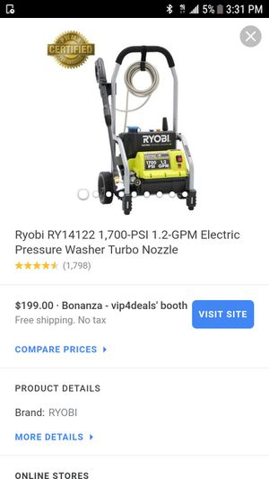 Ryobi RY14122 1,700-PSI 1.2-GPM Electric Pressure Washer Turbo Nozzle (1,798) for Sale in Los Angeles, CA