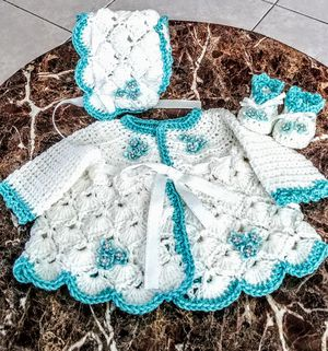 98480cdd9 Hand crocheted newborn girl take me home layette for Sale in Port St. Lucie