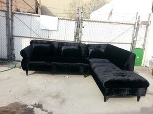NEW 9X7FT VELVET BLACK FABRIC SECTIONAL CHAISE for Sale in Chula Vista, CA