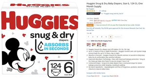 Huggies Snug & Dry Baby Diapers, Size 6, 124 Ct, One Month Suppl for Sale in Johns Creek, GA