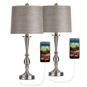 """Unique USB Table Lamp Set of 2 Modern Bedside Desk Lamp with USB Port 25"""" Nickle Finish for Sale in Salem, OR"""