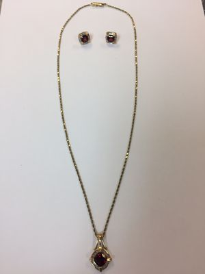 Like new solid 14k rope chain with genuine 10k ruby & diamonds pendant and earring set 21 inches for Sale in Yorktown, VA