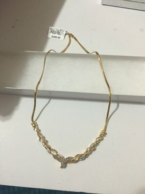 Gold over Brass 1/3 CTTW Diamond Chevron Necklace for Sale for sale  Brooklyn, NY