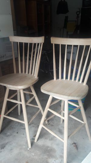 Two unfinished wooden bar stools for Sale in Reston, VA
