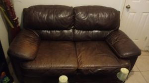 Brown leather sofas for sale with coffee table for Sale in Kissimmee, FL