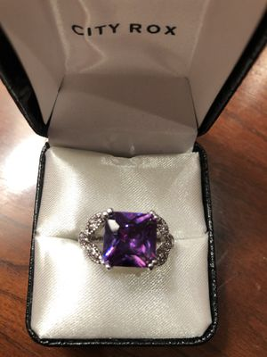 Natural Purple Amethyst CZ Solid 925 Sterling Silver Faceted Purple Ring Size 9 for Sale in FSTRVL TRVOSE, PA