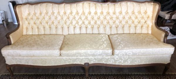 FRENCH PROVINCIAL pale yellow living room furniture
