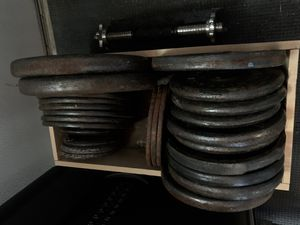 205 lbs of Standard Weight Plates, 5ft Bar, Two Dumbbell Handles for Sale in San Diego, CA