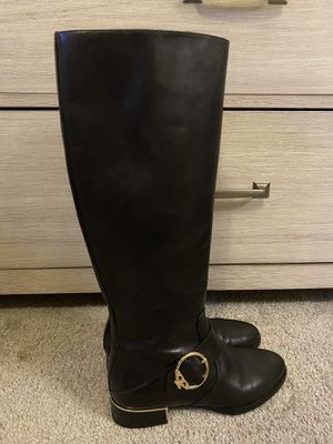 Tory Burch SOFIA Black Leather Buckled Tall Riding Boots 6.5 for Sale in Acworth, GA