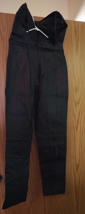 Like new Women's black size 12 leather halter top jumpsuit for Sale in Lakewood, CO